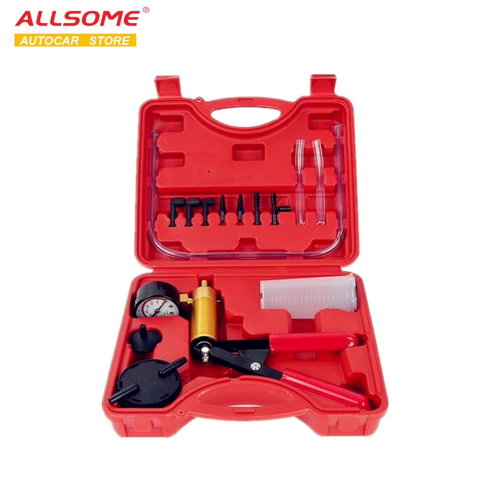 ALLSOME Hand Held DIY Brake Fluid Bleeder Tools Vacuum Pistol Pump Tester Kit Aluminum Pump Body Pressure Vacuum Gauge HT1190