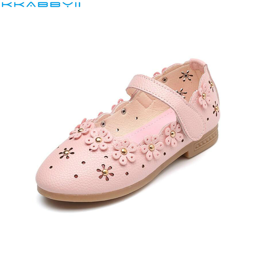 KKABBYII Childrens Shoes Spring Autumn Girls Princess Shoe With Flowers Kids Baby Single Sneakers Fashion Girls Leather Shoes