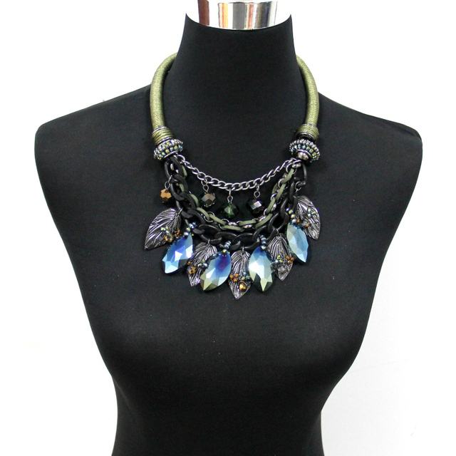 MANILAI Indian Jewelry Crystal Maxi Necklace Women Vintage Metal Leaf Statement Choker Collar Necklaces & Pendants Accessories