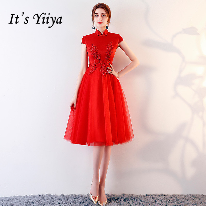 It's YiiYa   Cocktail     Dress   Vintage Red Sleeveless Embroidery Zipper A-line Knee Length Formal   Dress   LX448 In Stock