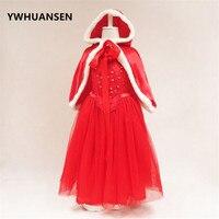 YWHUANSEN 2 Pcs/ensemble De Noël Robe Pour Fille Plus Châle Chapeau Fille D'hiver Vêtements Nouvelle Année Costumes Pour Enfants Vêtements Carnaval