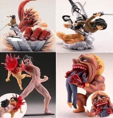 4pcs/ Set Q Version 7-10CM Anime Figure Attack On Titan Levi Ackerman Mikasa Ackerman  PVC Action Figure T30
