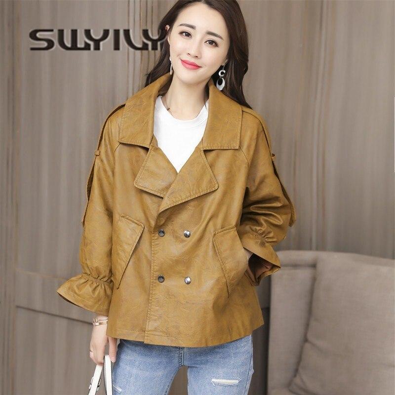 SWYIVY Woman Jacket Coat PU   Leather   2019 Spring Autumn New Female Fashion Short   Leather   Coat Loose Style Ladies Jacket 2XL Xxl