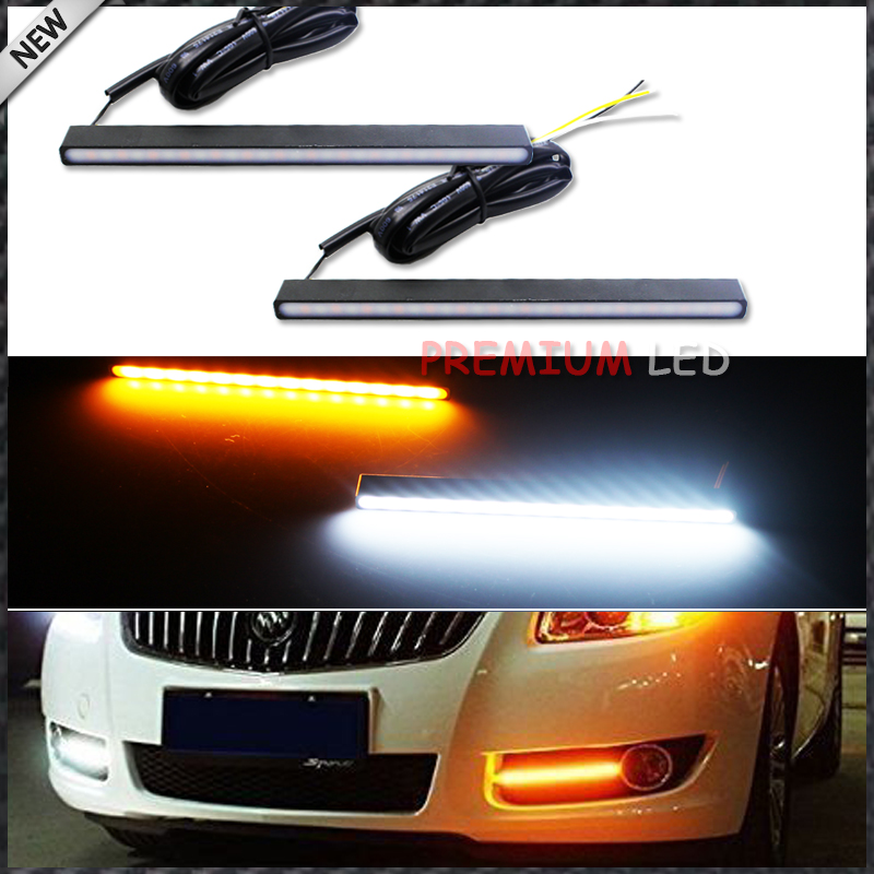 2pcs Ultra Slim Switchback White/Amber 29-SMD Light LED Daytime Running Lamps DRL Kit for any car SUV truck ATV 4x4 Jeep, etc flexible 3w 132lm 6 smd 5050 led white car decorative daytime running light 12v 2 pcs