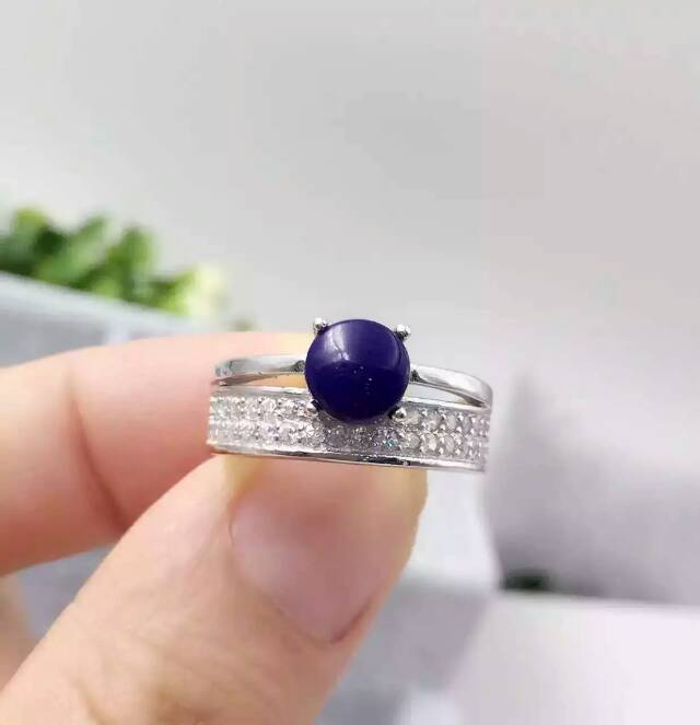 Natural blue lapis lazuli gem Ring Natural gemstone ring 925 sterling silver trendy second floor round women men party Jewelry