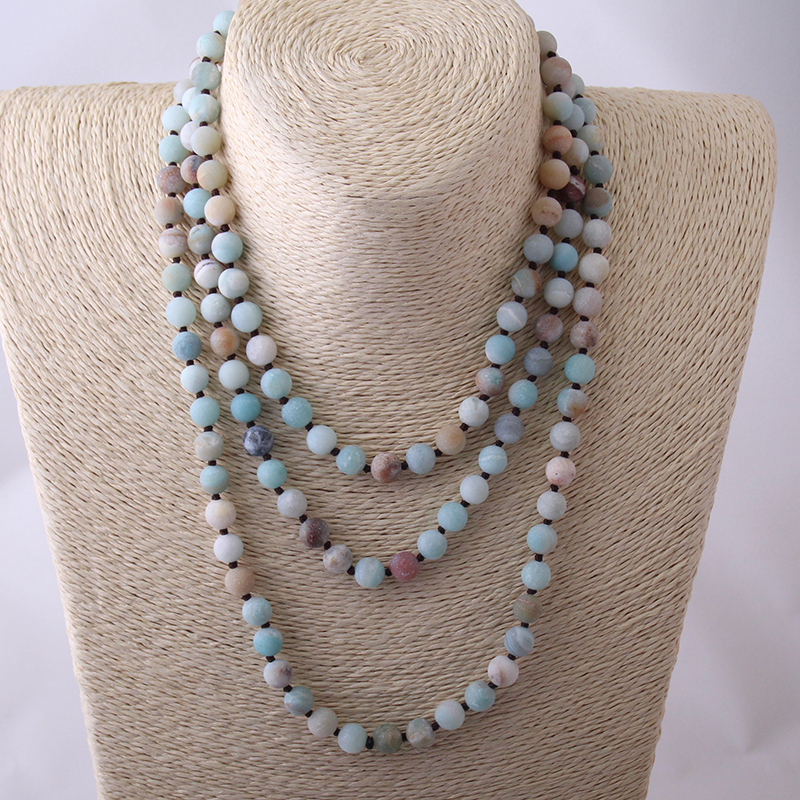 Free Shipping Long Knotted Halsband Knot Frosted Amazonite Stones Necklace