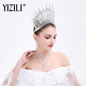 Image 5 - تاج زفاف أوروبي كبير فاخر جديد من YIZILI تاج زفاف مستدير كبير من الكريستال إكسسوارات شعر للزفاف بشكل تاج الملكة C021