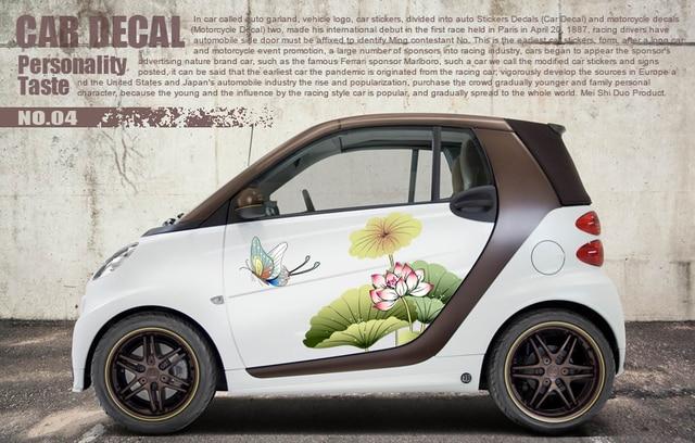 Smart Cartoon Watercolor Butterfly Lotus Door Fresh Sticker Car-styling Vinyl Personality Waterproof Car Decoration & Smart Cartoon Watercolor Butterfly Lotus Door Fresh Sticker Car ...
