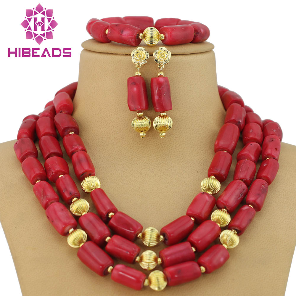 Nigerian Wedding African Beads Jewelry Set Red Coral Beads African Costume Jewelry Set Free Shipping CNR151 free shipping 2017 fashion red coral beads jewelry set charms red twisted strands african jewelry set high quality cnr132