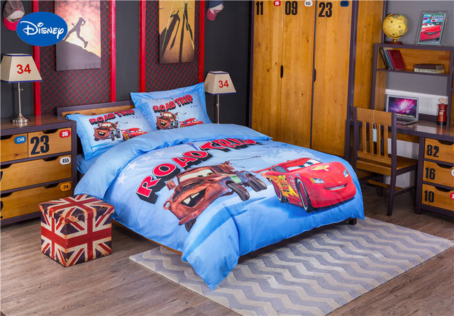 Blue Disney Cartoon Lightning McQueen Car Print Bedding Set For Childrens Boys  Bed Cover Cotton Bedclothes Single Twin Full Size
