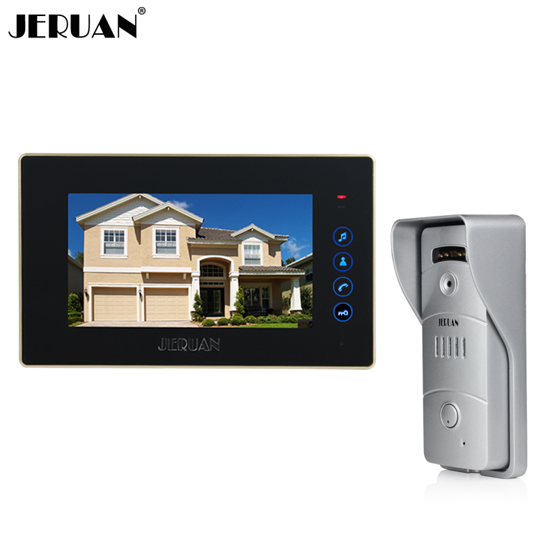 JERUAN 7 inch touch key Color Video door phone  Intercom system 1 black monitor outdoor with  IR pinhole camera FREE SHIPPING original 7 inch touch screen dahua dh vth1550ch color monitor with to2000a outdoor ip metal villa outdoor video intercom system