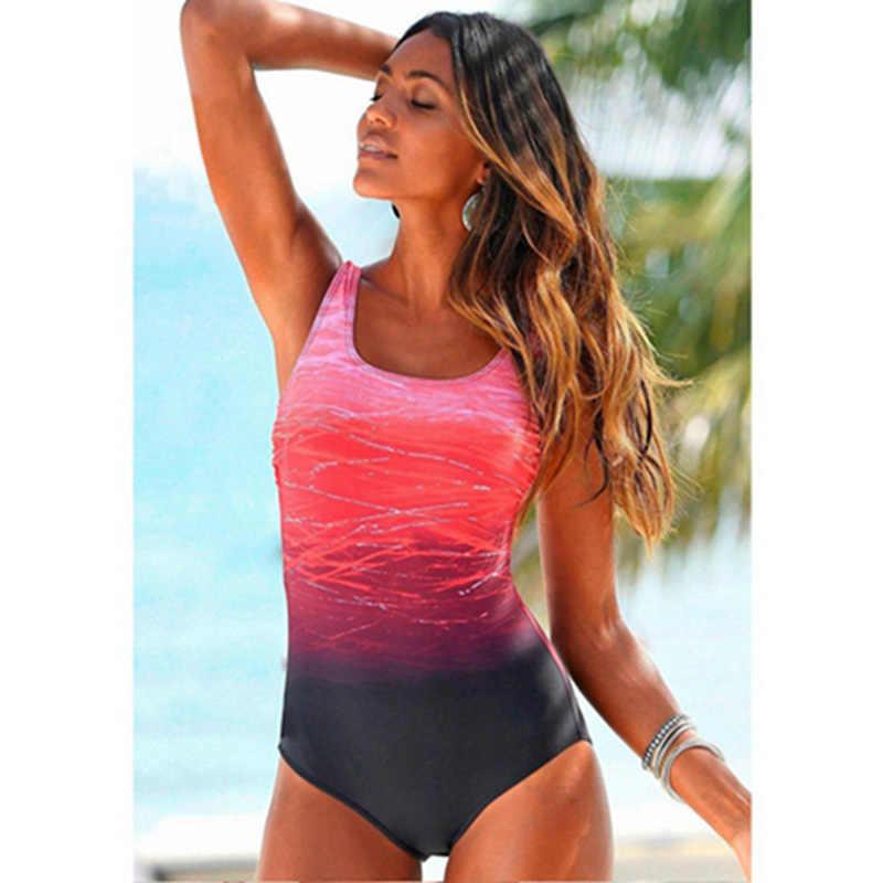 Gradien Warna Cross Kembali Pakaian Renang 2019 Plus Ukuran Baju Renang Wanita Wanita Vintage Olahraga One Piece Beachwear Maillot De Bain Bikini
