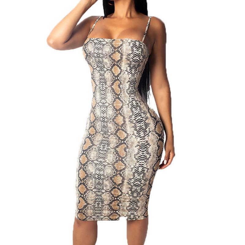 ec9d0c91 Cheap Vestido de tubo ajustado Sexy de mujer con tirantes finos estampado  de serpiente vestido de