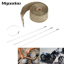 5M Motorcycle Motocross Thermal Exhaust Pipe Header Heat Wrap Tape Resistant Durable Stainless Steel Ties Kit Titanium Gold sclmotos 5 10 15m titanium color exhaust pipe header heat wrap resistant exhaust stainless steel ties wrap for car motorcycle