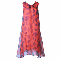2018 Summer New Sleeveless Vest Wave Print Silk Long Dresses Holiday Temperament Elegant Beach Dress For