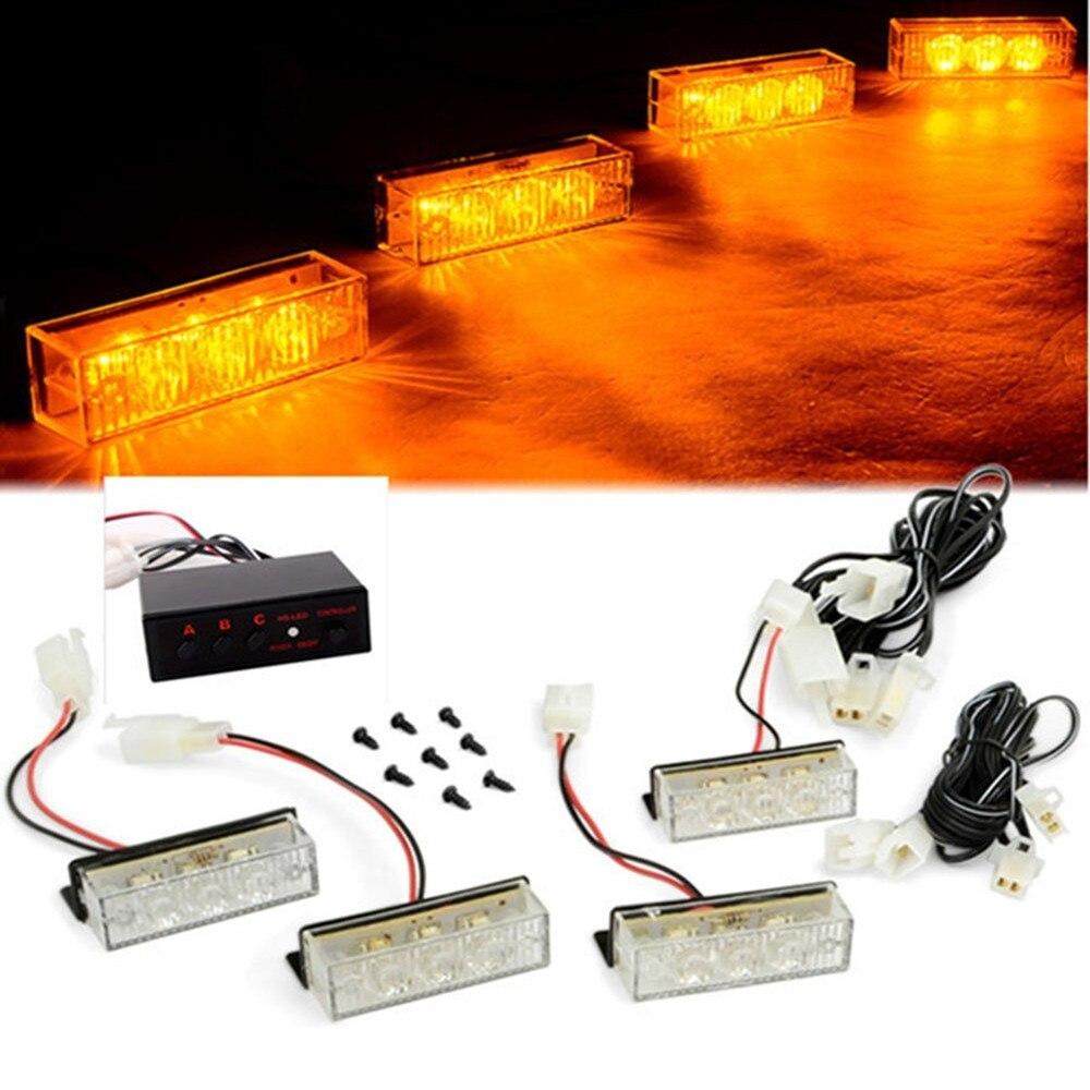 12V Car Grille Flashing Strobe Lights Automotive Car Front Grille Deck Flash Emergency Lights Police Warning Signal Lamp