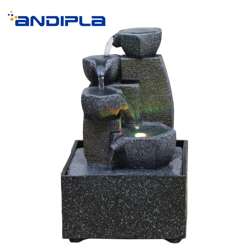 110/220V Modern Water Fountain Natural Resin Micro Landscape Living Room Office Waterscape Desktop Decoration Crafts Waterfall