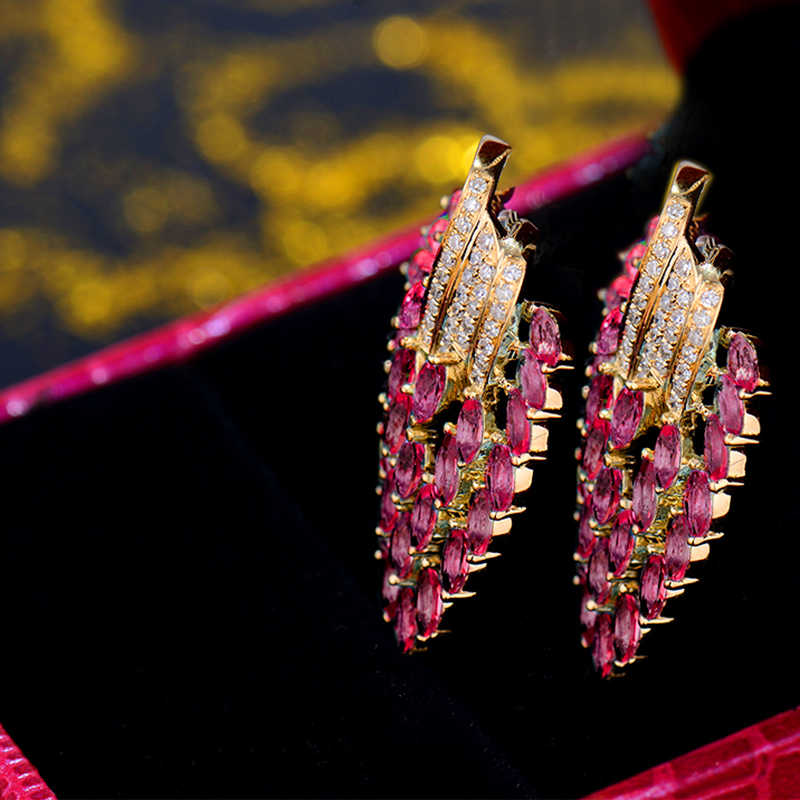 Earrings For Women Vintage Party Fine Jewelry 18K Yellow Gold Natural Diamonds Pink Red Ruby Earrings Young Lady Jewelry Gift