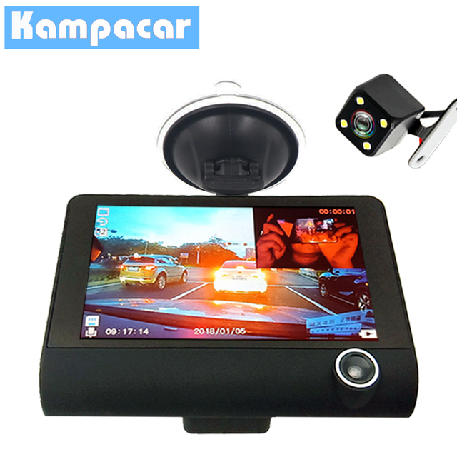 Kampacar 3 in 1 Dvrs With Two Cameras For Cars Recorder Full HD 1080P Three Lens 4