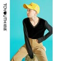 Toyouth Velvet Long Sleeve Top Women Korean Casual Top Loose Harajuku Streetwear V Neck T shirt Mujer Autumn New Tops 2019