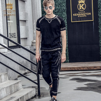 Fanzhuan Free Shipping New fashion casual 2017 male Men's Summer short sleeved t shirt ninth pants set suit 711028 black slim