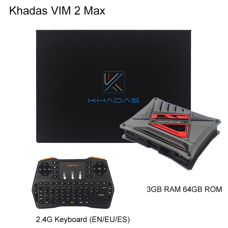 Khadas Vim2 Max 3GB RAM 64GB EMCC Single Board Computer Amlogic S912 WiFi Bluetooth Android TV Box + 2.4GHz Wireless Keyboard image