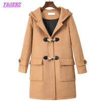 YAGENZ Horn button Autumn Winter Woolen Jacket Women Fashion Straight Long Wool coat Young Women Exquisite Hooded Overcoat B274