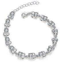 Silver Plated Jewelry Charm Bracelets For Women Solid Silver Bracelets Luxury Shining Crystal Bracelet Wedding Bracelets