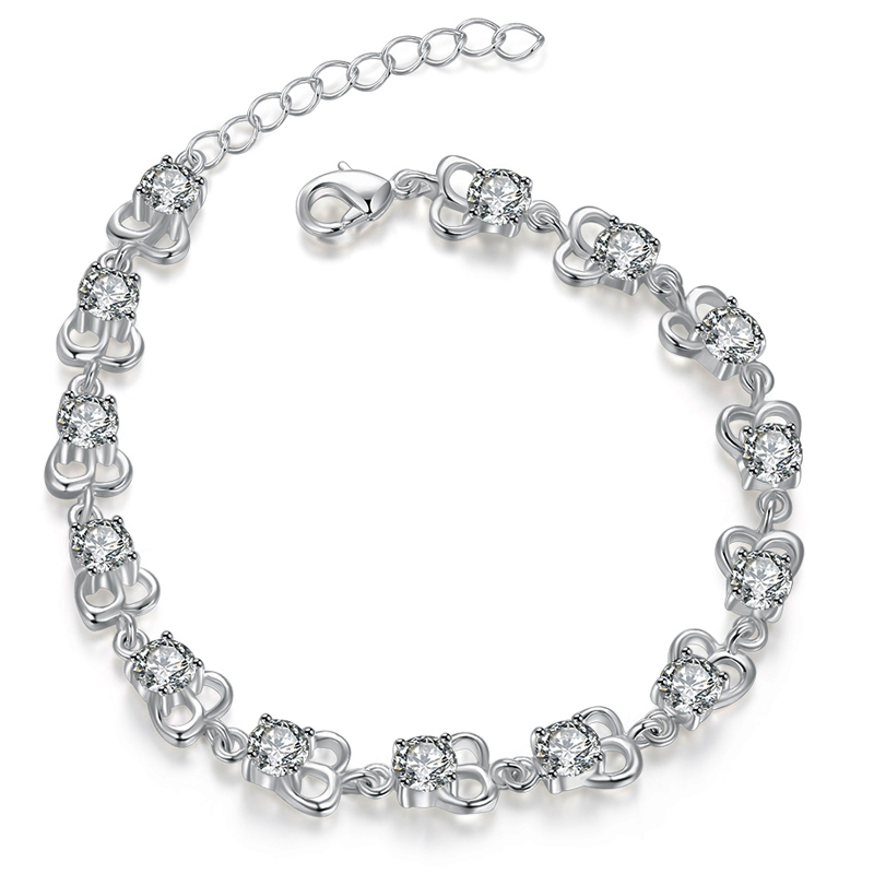 Silver Plated Jewelry Charm font b Bracelets b font For font b Women b font Solid