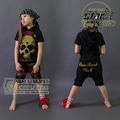 Hip-Pop Style 2016 Summer Children Cool Girls Cotton Clothes Set Kids Fashion Skull Street Dancing Clothing Boys Girls Costumes