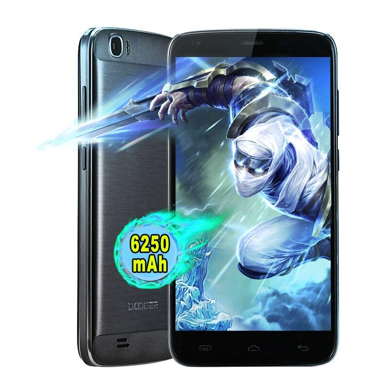 Цена за Оригинал DOOGEE T6 PRO 6250 мач Смартфон Android 6.0 MT6753 Octa Ядро 5.5 Inch HD 1.5 ГГЦ 3 ГБ RAM 32 ГБ ROM 13.0MP 4 Г Мобильный Телефон