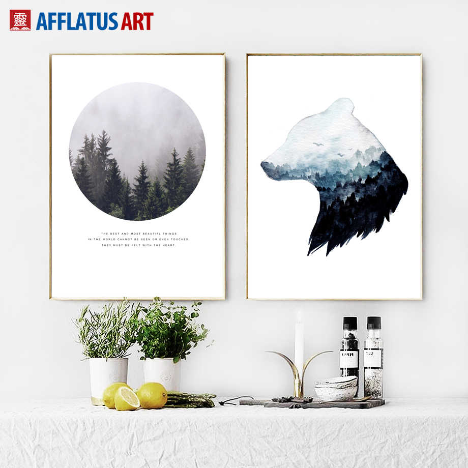 Forest Landscape Abstract Bear Quote Wall Art Canvas Painting Nordic Posters And Prints Wall Pictures For Living Room Wall Decor