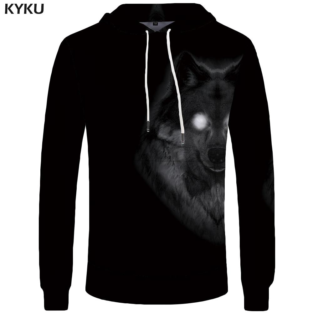 KYKU Brand Wolf Hoodies Men Funny Sweatshirt Animal Hoddie Pocket Mens Clothing Sweatshirts 3d Hoodies Cool Hip Hop Casual