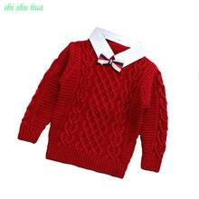 Одежда для мальчиков и девочек, вязаный свитер с крученым узором, пальто с лацканами и длинными рукавами, аксессуары галстук-бабочка, качественная одежда для детей 3-7 лет