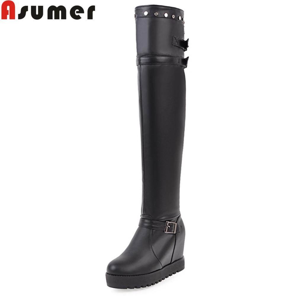 ASUMER 2018 hot sale new arrive women boots round toe ladies boots height increasing black white brown over the knee boots asumer 2018 hot sale new arrive women