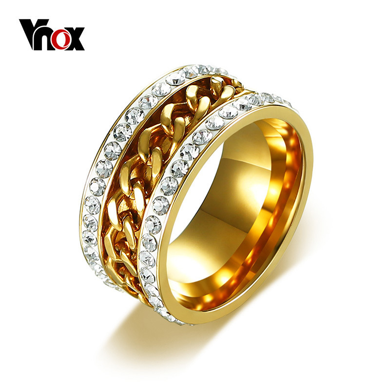 Wedding Ring On Chain Boy Or Girl: Vnox Gold Color Spinner Rings For Men Women Stylish
