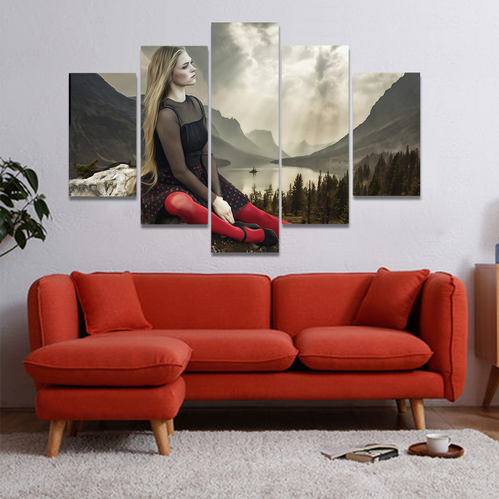 Unframed Canvas Painting Woman Wearing Red Stockings Gothic Art Picture Prints Wall Picture For Living Room Wall Art Decoration