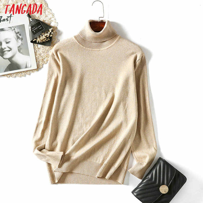 Tangada Winter Women Solid Turtleneck Sweater Pullovers Silver Lurex Gray Ladies White Basic Sweaters Slim Fit Warm Tops AQX03