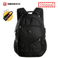 Swisswin Black Business Backpack Male Swiss Military 15 Computer Bag Mochila Masculino Orthopedic Backpack Back Pack
