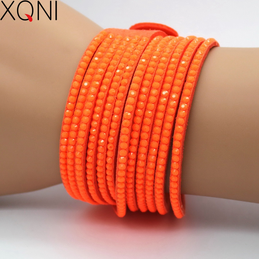 XQNI Brand Wedding Jewelry Crystal Leather Bracelets Fashion Mosaic Brand Orange Rhinestone Classic Charm Women Bracelets