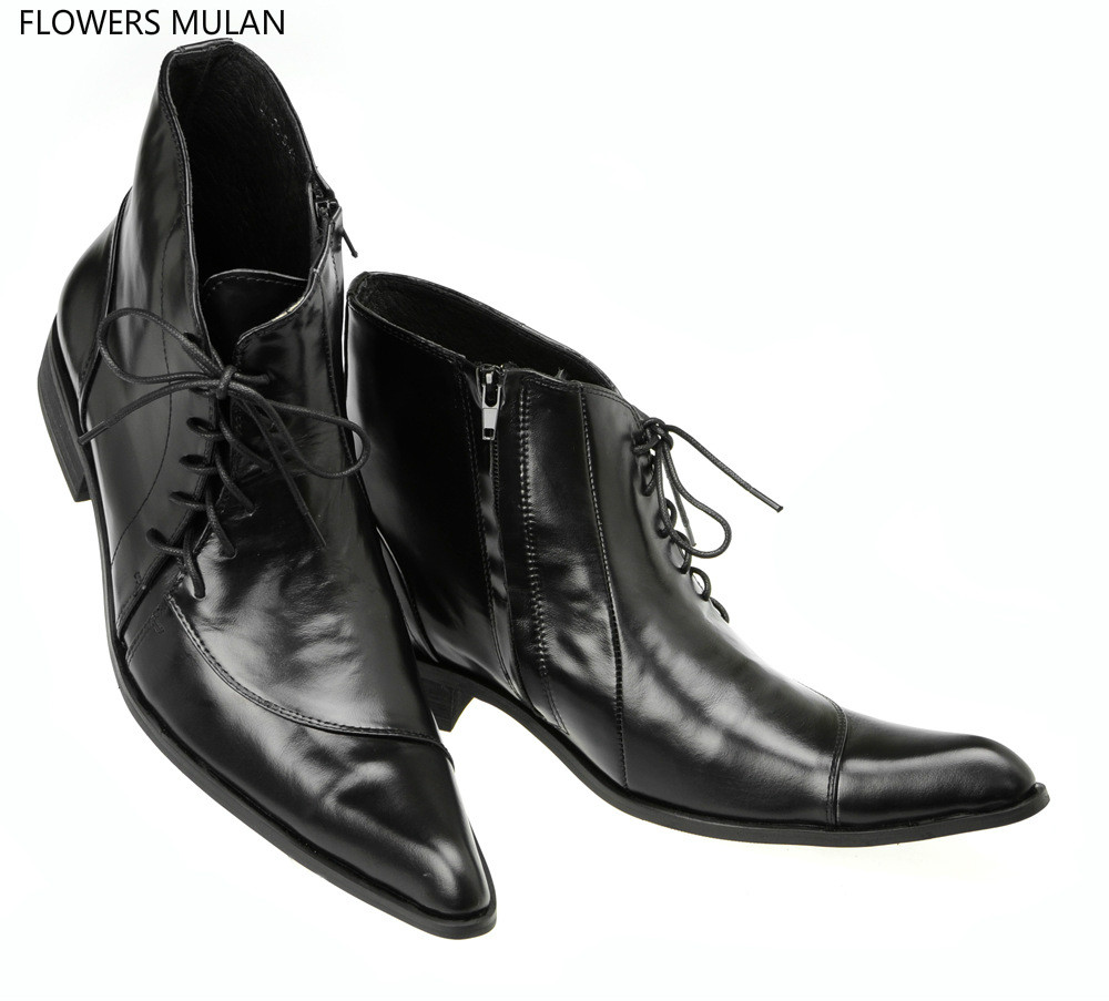 British Style Gentleman Pointed Toe Side Cross Tied Zip Man Dress Shoes Black Genuine Leather Male Derby Shoes Ankle High Boots