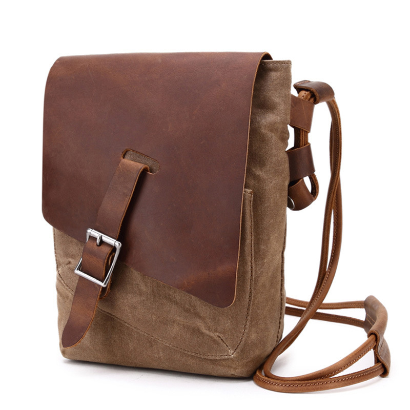 Durable Canvas Shoulder Bag Men's Messenger Bag with Leather Flap Small Women's Sling Bag Schoudertas Dames цена 2017