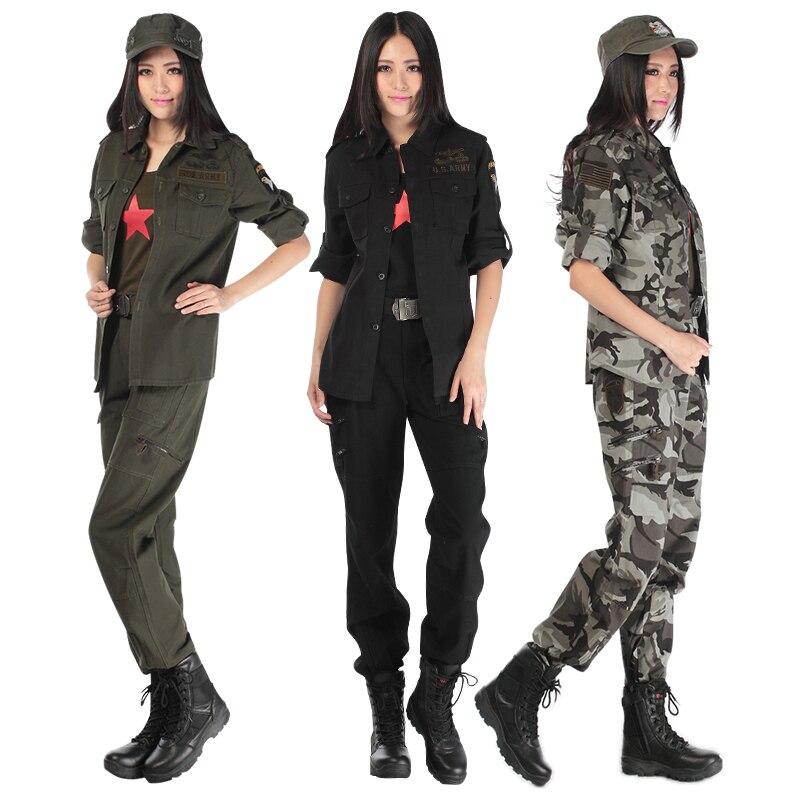 Haute qualité champ armée fan coton camouflage costume femmes pantalon veste deux pièces Interplant militaire uniforme femme