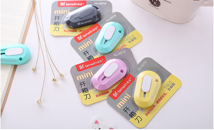 Купить с кэшбэком Mini Utility Knife Colorful Office Portable Knife Safety Paper Cutter Knife School Supplies