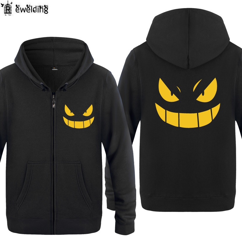 Zipper Hoodies Men Gengar Theme PoKeMoN GO Anime Cartoon Mens Hoodie Fleece Long Sleeve Man's Jacket Sweatshirt Skate Oversized