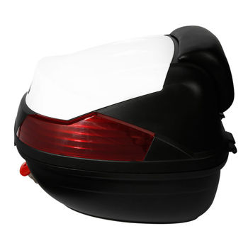 Motorcycle Trunk Hard Rear Tail Box Luggage Helmet Storage Case with Passenger Backrest For Touring Scooter Cruiser Dirt Bike