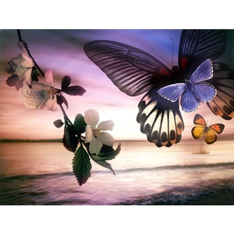 5d completo diy daimond pintura borboletas 3d pintura diamante redondo/quadrado flores strass pintura diamante bordado