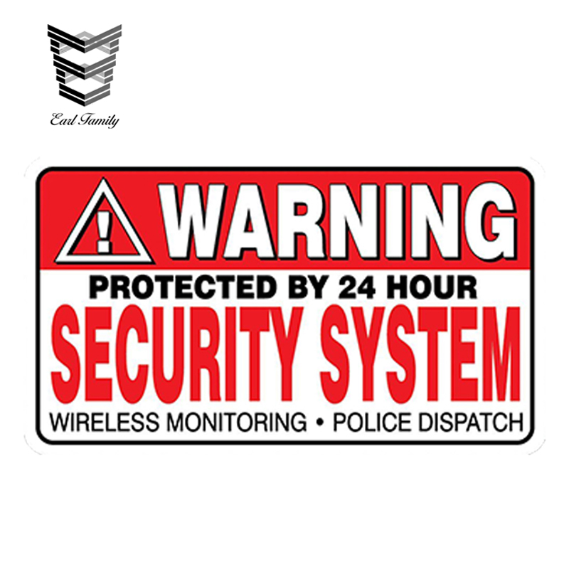 EARLFAMILY 13cm x 8cm Car Styling WARNING Security System Stickers Home Alarm Decal Vinyl Window Bumper Waterproof Car Sticker