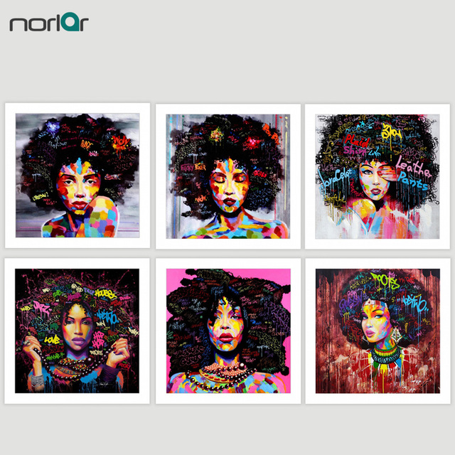 HD PRINT Poster Wall Art Abstract Modern African Women Portrait Canvas Oil Painting On Canvas Graffiti Street For Living Room