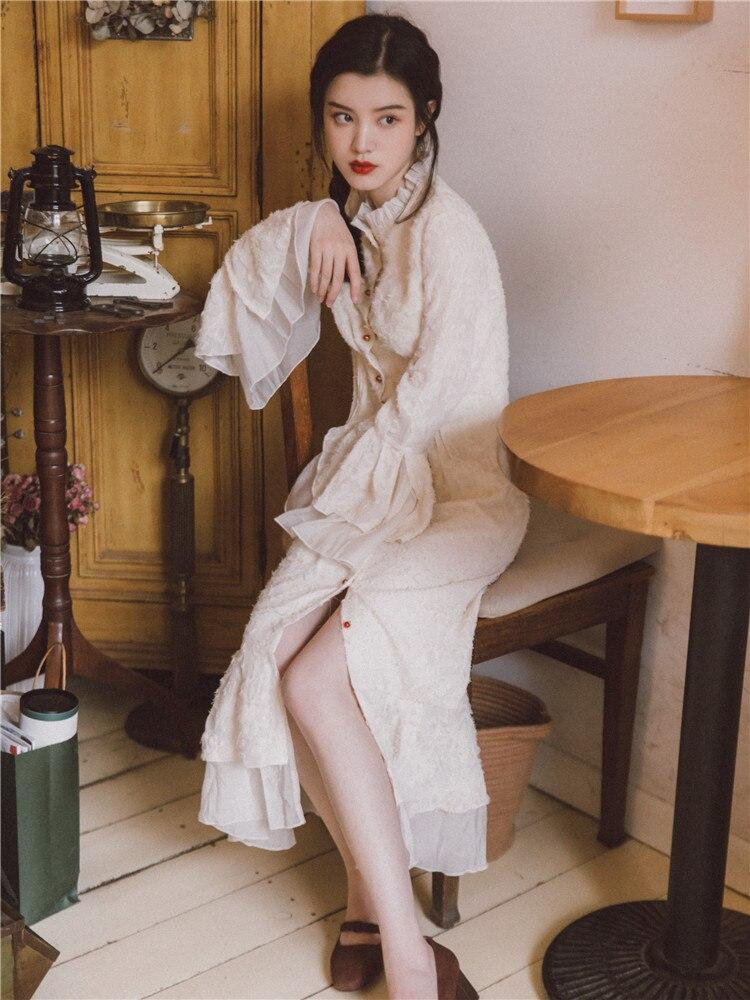 Robe Broderie Fille Stand Longue Manches Douce Femmes Luxe Col White Vintage Jeune Blanc Jessica Magasin Arrondi Français De Printemps Automne Milky vTUUZzq